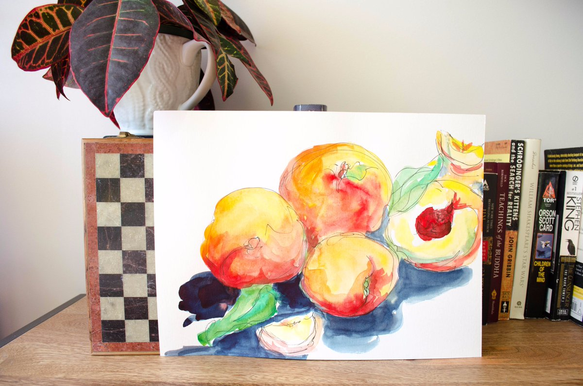 Peaches Painting!   https://www. etsy.com/listing/551874 820/peaches-watercolor-painting &nbsp; …   #Art #Painting #Watercolor #Peach #Peaches #Fruit #Food #Kitchen #Eat #Healthy #Homedecoration<br>http://pic.twitter.com/c0WNx2lwet