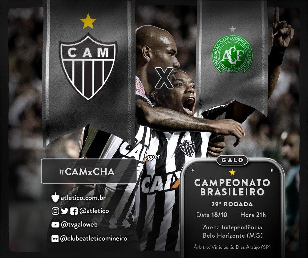 HOJE TEM GALO! Atlético enfrenta a Chapecoense, no Horto, pelo Brasileirão! Acompanhe o jogo pelo @atletico e use a tag #CAMxCHA! Vamos, #Galo!
