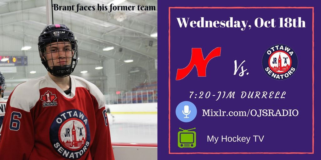 GAME DAY | #OJS hosts the @Nepeanraiders tonight! Brant takes on his former team!  Jim Durrell 7:20  http:// mixlr.com/ojsradio  &nbsp;   Hockey Tv<br>http://pic.twitter.com/nvH5plHdpo
