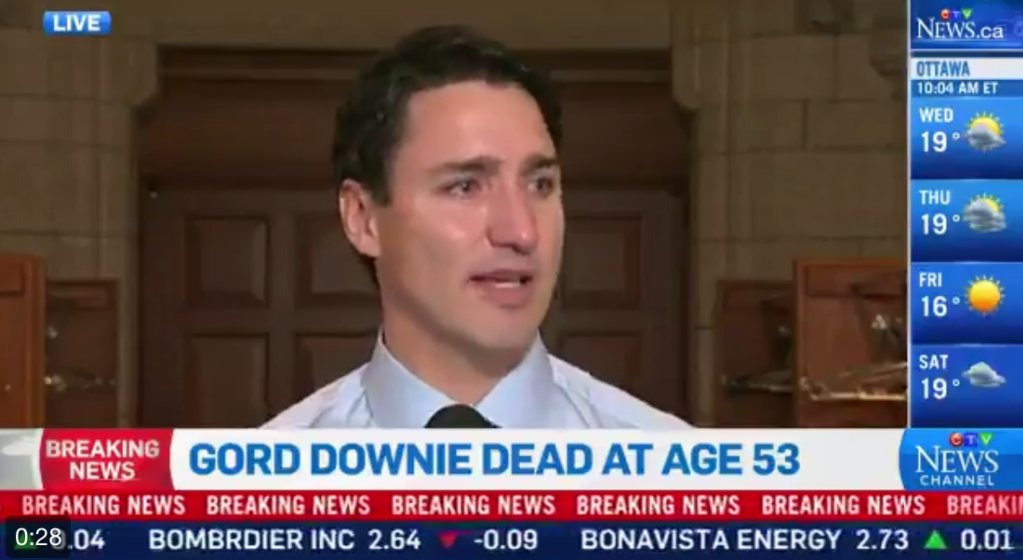 Watch Justin Trudeau's tearful tribute to Gord Downie https://t.co/GZa3wS8OaP