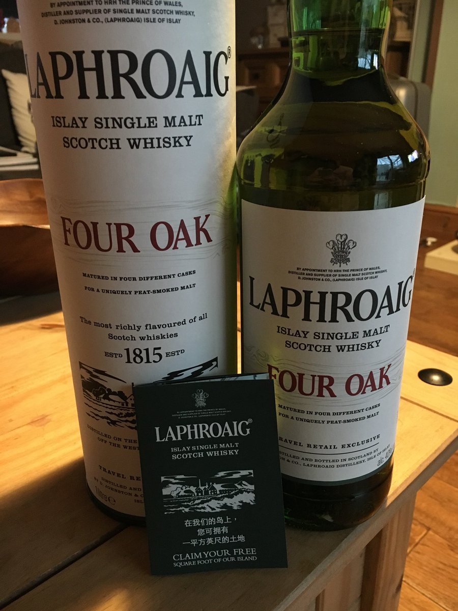 The finest @Laphroaig four oak. Well worth the wait. #Peaty #smoke #islay #scotchWhisky<br>http://pic.twitter.com/TRnxSWWIhN