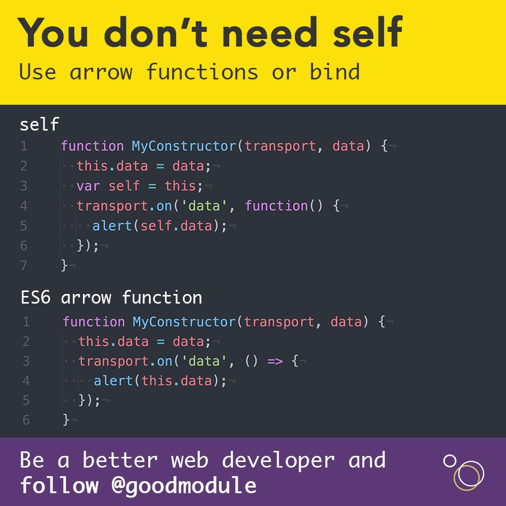 You don&#39;t need self. Use arrow functions or bind. #javascript #es6 #vuejs <br>http://pic.twitter.com/6eqAWn9R1Y