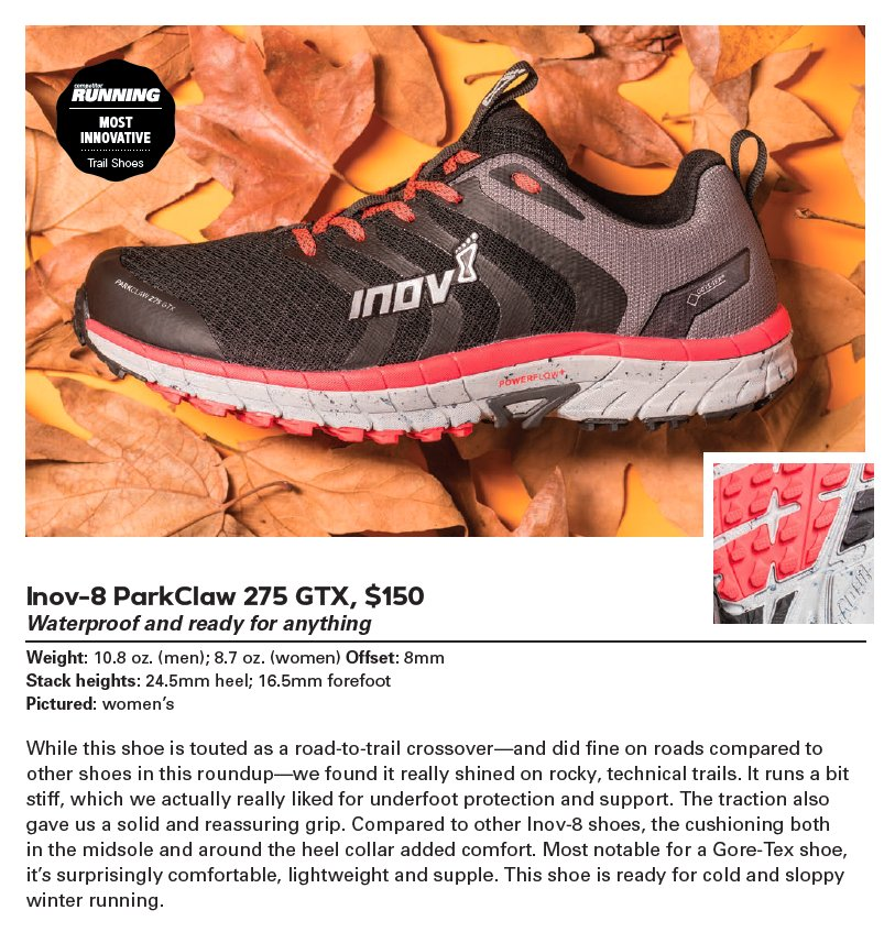 The @RunCompetitor award-winning PARKCLAW 275 GTX - the first #trailrunning shoe to feature GORE-TEX Invisible Fit   http://www. inov-8.com/blog/most-inno vative-award-parkclaw/ &nbsp; … <br>http://pic.twitter.com/7JiZSv58yf