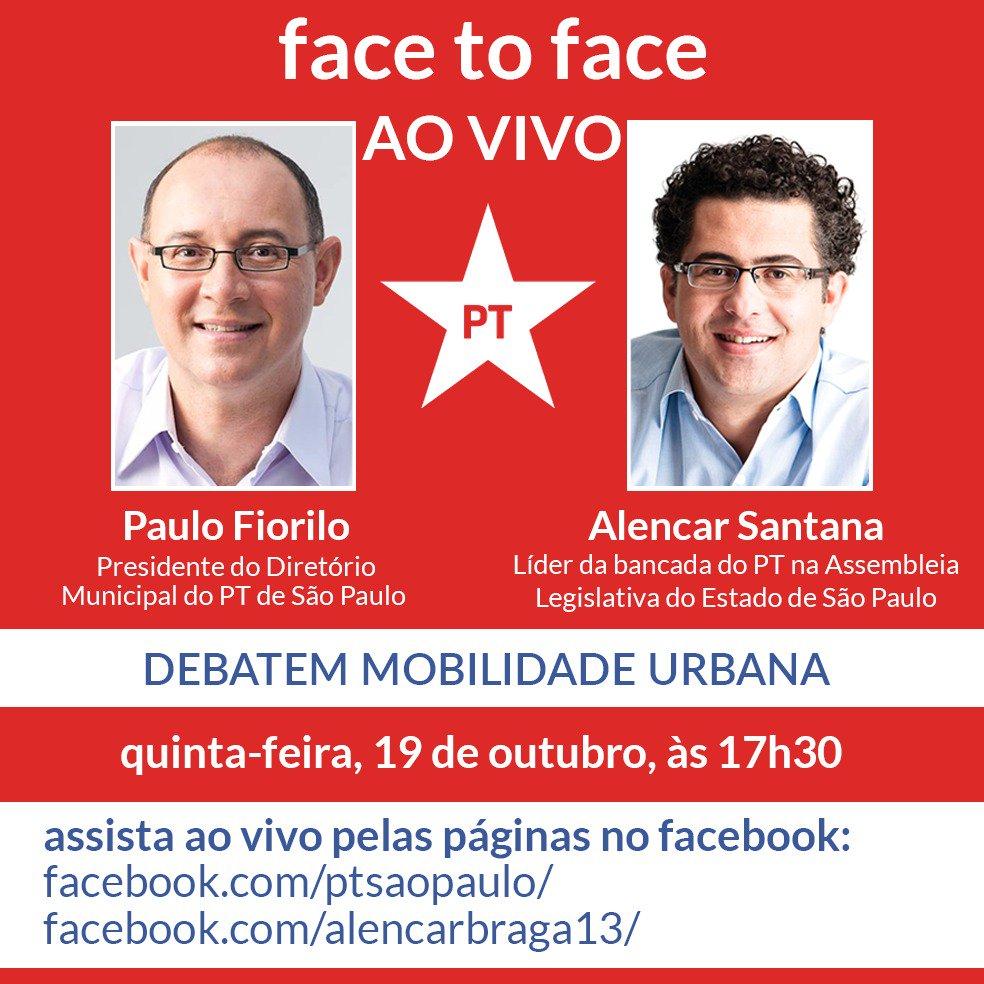 Presidente do PT Municipal de SP, Paulo Fiorilo e Líder do PT na Assembleia, Alencar Santana Braga debatem Mobilidade Urbana nesta quinta 19