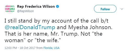 Rep. Frederica Wilson: 'I still stand by my account of the call' between President Trump and soldier's widow