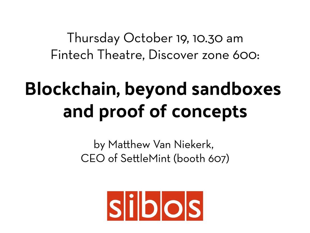 Our CEO @matt_vn will do a #presentation at @Sibos: #Blockchain, beyond #sandboxes &amp; #proof of #concepts. Oct. 19, 10.30 am. #fintech<br>http://pic.twitter.com/vmp4zMTM6m
