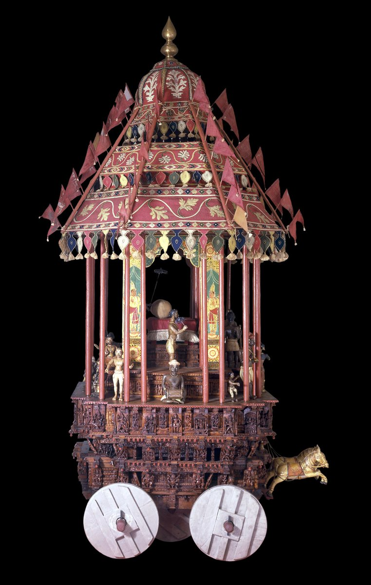 The image of a deity is pulled to a temple on chariots like this. It's one of our Curator's highlights from the shohttps://t.co/osLTIDyg7Vw