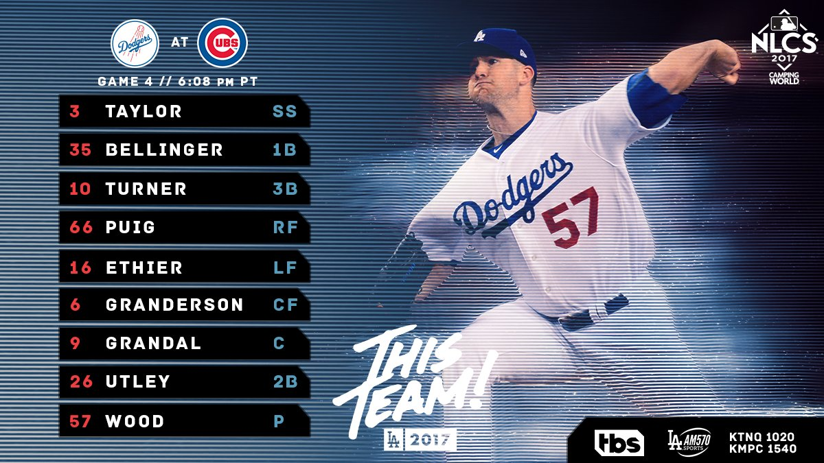 #ThisTeam // NLCS Game 4: Taylor SS Bellinger 1B Turner 3B Puig RF Eth...