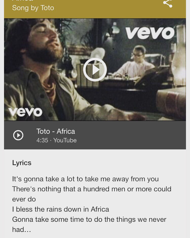 Lyric i bless the rains down in africa lyrics : Gus Castillo (@just_Gus_) | Twitter