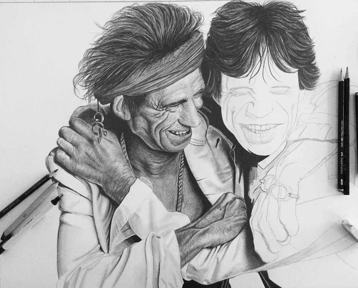 Well that&#39;s #keithrichards finished now 2 tackle #Mickjagger #Pencildrawing #RollingStones @officialKeef @MickJagger<br>http://pic.twitter.com/TG9znvs1wj
