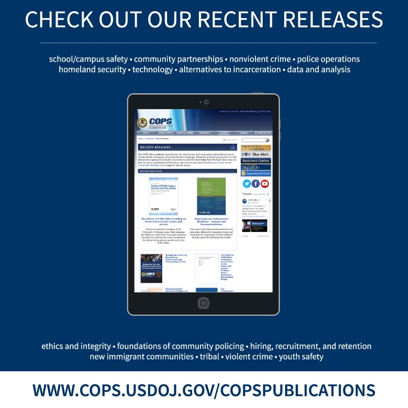 Don&#39;t miss any of our #CommunityPolicing #publications. Download them to your iPad or e-reader:  https:// cops.usdoj.gov/copspublicatio ns &nbsp; … <br>http://pic.twitter.com/RNuVDQesUf