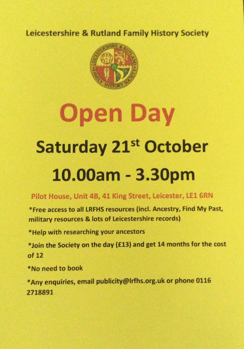 LRFHS Open Day on Saturday - all welcome. @RecordOffice #familyhistory #genealogy <br>http://pic.twitter.com/Ya6f0tsGWp