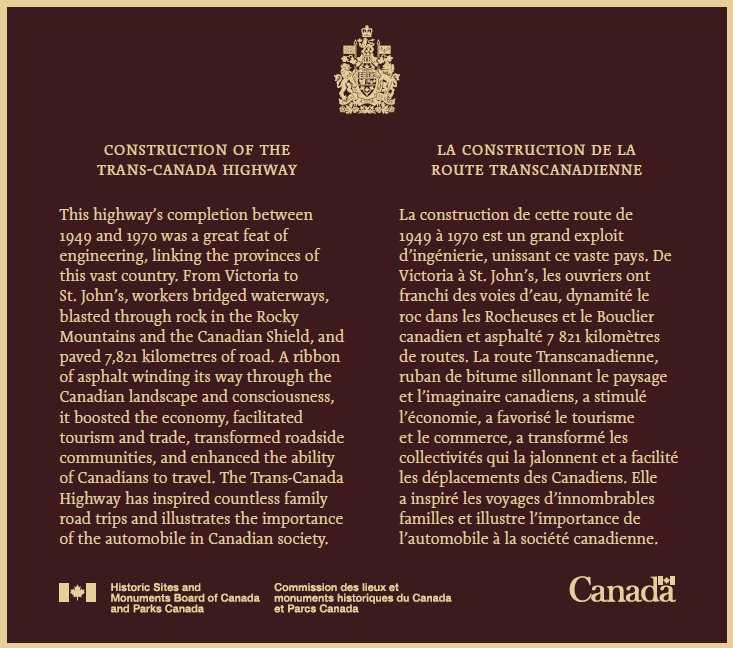 Construction of #TransCanadaHighway commemorated today #CoasttoCoast with #HSMBC plaques #Canada150  #CDNhistory  http:// ow.ly/JOxe30fY6ag  &nbsp;  <br>http://pic.twitter.com/PZ4x4fnyt6