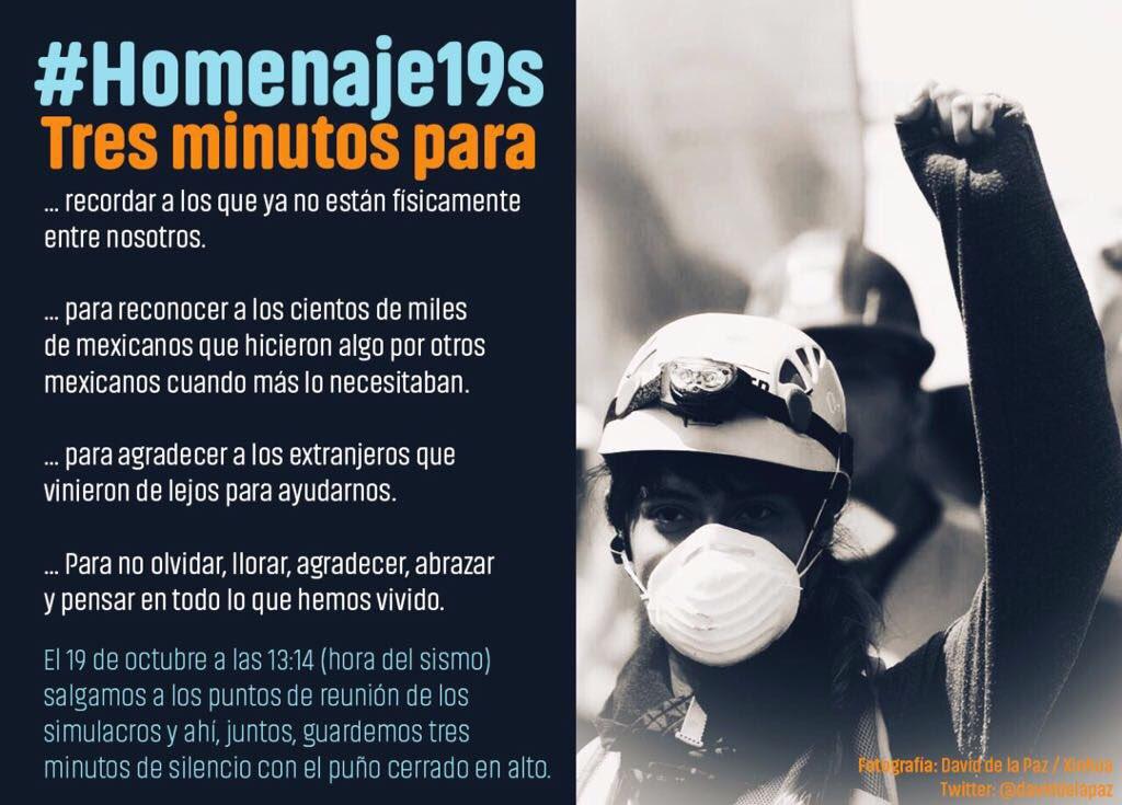 19 de octubre 13:14 hrs 3 minutos puño en alto #Homenaje19S   👇🏼 https...