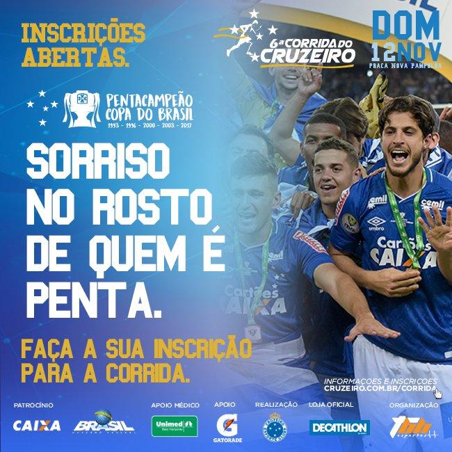 Comemore o penta da Copa do Brasil participando da 6ª Corrida do Cruzeiro! Faça já sua inscrição: https://t.co/AzHjJzcISv