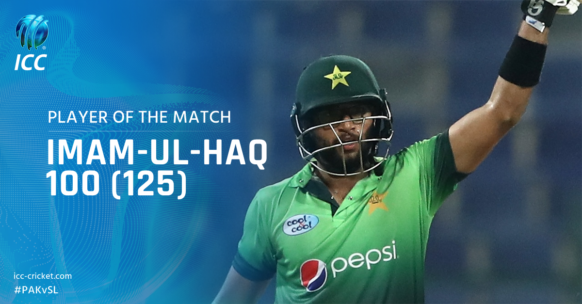 Uncle @InziTheLegend would be proud! Imam-ul-Haq is the Player of the Match after his century on ODI debut! #PAKvSL