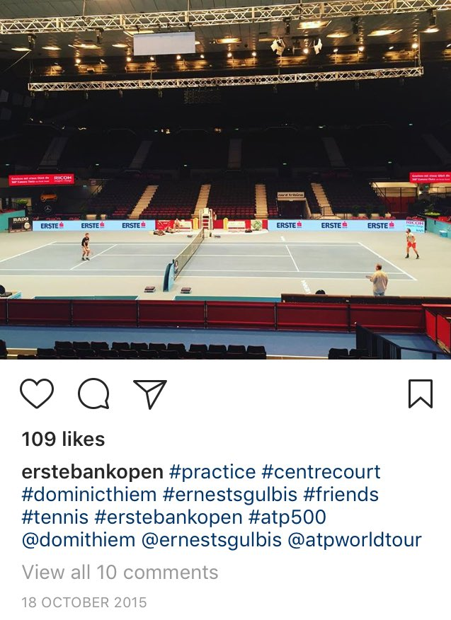 Throwback exactly 2 yrs ago #thiem #gulbis practice on center court in Vienna <br>http://pic.twitter.com/6rgWf2vAox