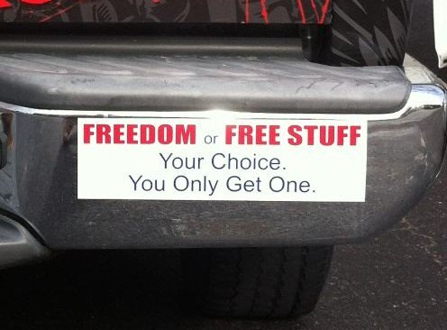 Actually, the choice is &quot;#Freedom&quot; or the &quot;Illusion of Free Stuff.&quot; Government can only give what it takes from us first. #libertarianism<br>http://pic.twitter.com/5Bb5sxObuX