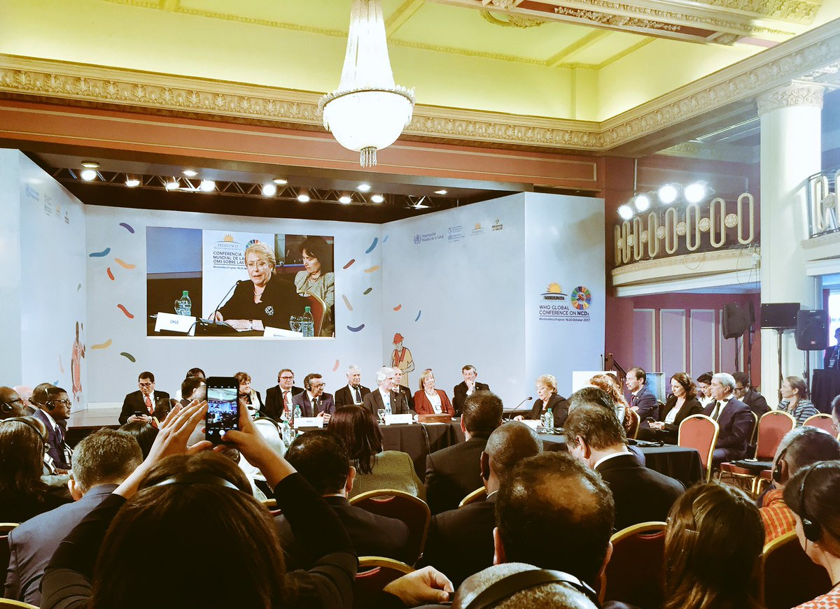 We can do it, we can act effectively to #beatNCDs through multisectoral approaches. H.E. Michel Bachelet of #Chile <br>http://pic.twitter.com/DKocyHs9qe