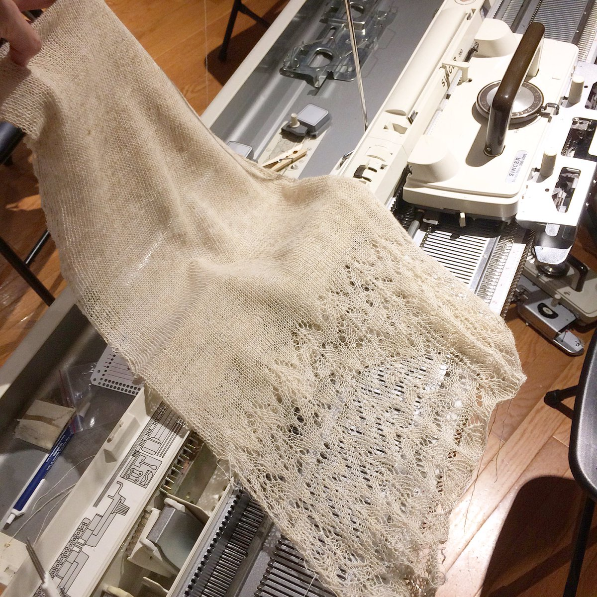 This beautiful scarf was knitted up during Machine Knitting Club last night! #knittingmachine #knit #knitting #knittingclub #rochesterny <br>http://pic.twitter.com/1VdOjFDDyk