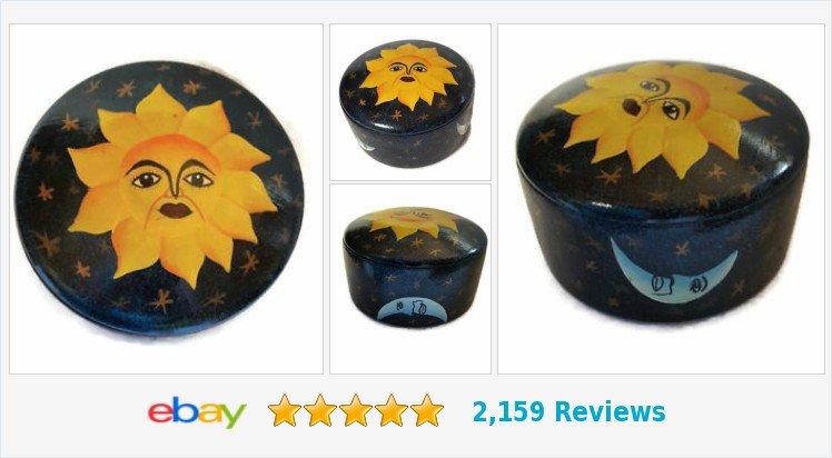 #Celestial Trinket Box Hand Painted Sun Moon Wood Yvens Jacmel #Haiti Blue 2.5&quot; x | eBay #sunshine  https:// goo.gl/eMssd4  &nbsp;  <br>http://pic.twitter.com/2vwehstNS8