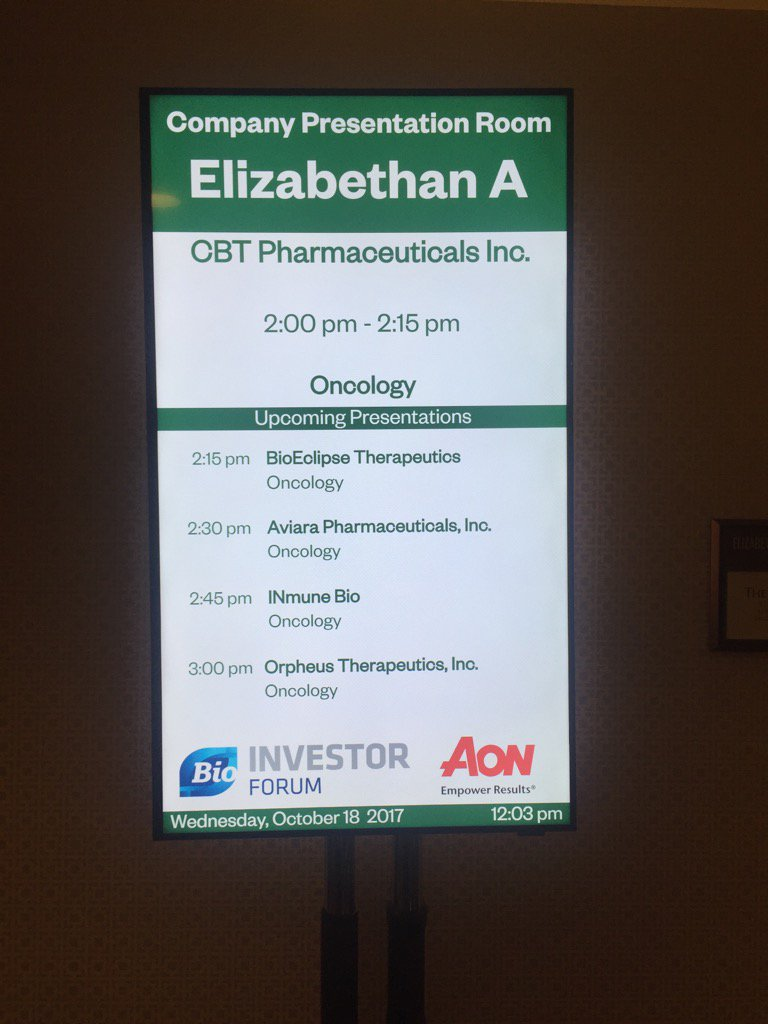CBT Pharmaceuticals - presenting at the #BIF2017 #Bio today. Looking f...