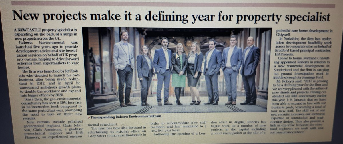 Did you see our article in @jnlbusiness today? Exciting times at Roberts as we welcome 3 new recruits! #geoenvironmental #BusinessNews <br>http://pic.twitter.com/JGqNYjJ7Vj