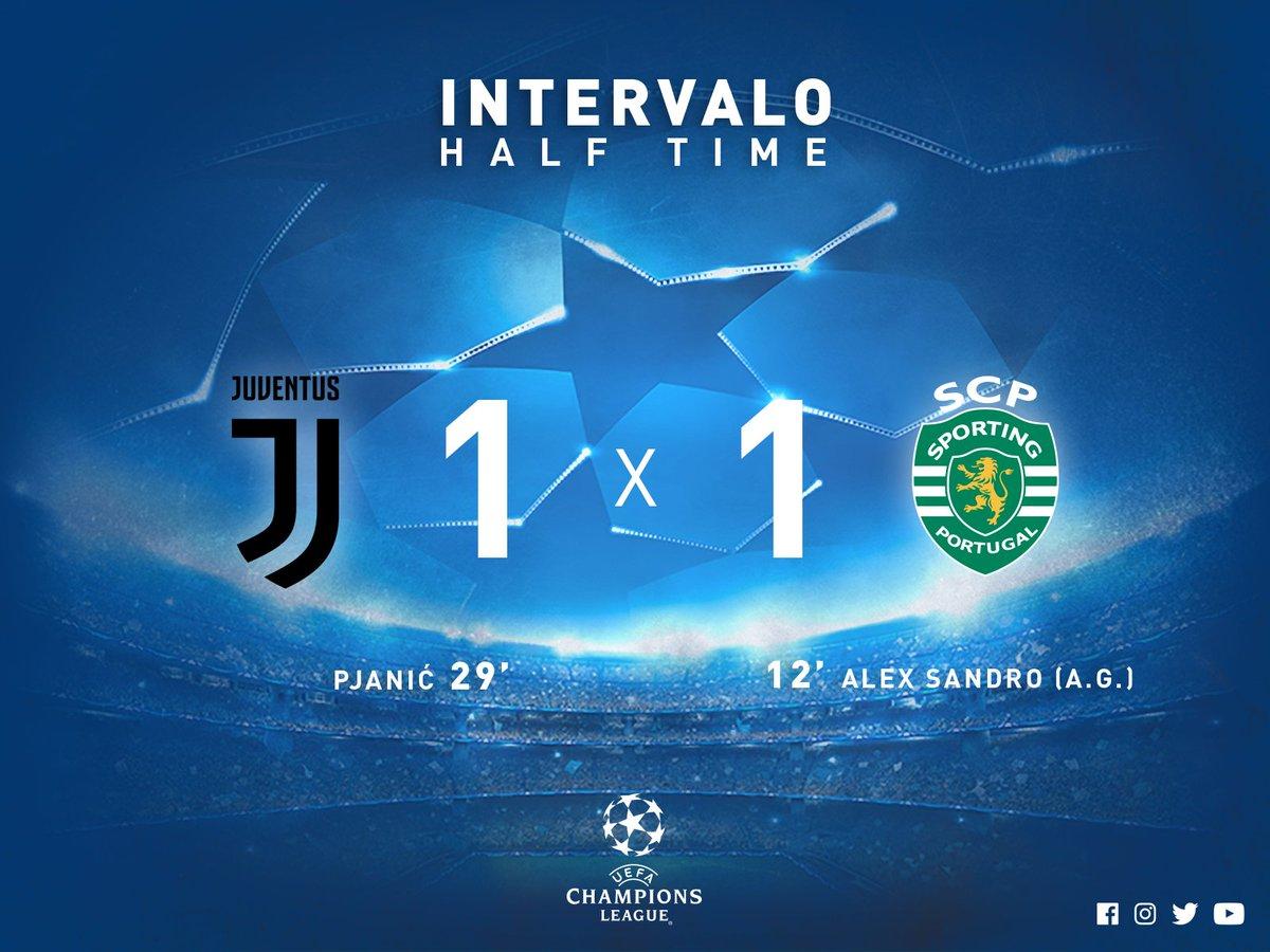 #UCL   #JuveSCP   ⏱ Intervalo   Os Leões adiantaram-se em Turim, mas a Juventus respondeu e há empate ao intervalo! #DiaDeSporting
