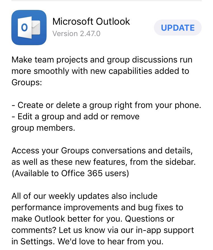 Nice! Create #Office365 groups in the #Outlook app for iOS! <br>http://pic.twitter.com/afzrRm0cLf