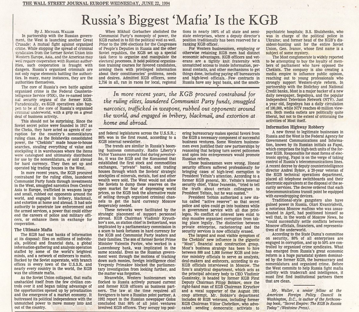 Reminder: Corrupt dealings with #Russia started 20+ years ago in the Clinton Admin. @JMichaelWaller explains  http:// jmichaelwaller.com/wp-content/upl oads/2002/08/WSJ-Russia-Mafia-KGB-1994.06.22.pdf &nbsp; … <br>http://pic.twitter.com/CL6PvsNiGp