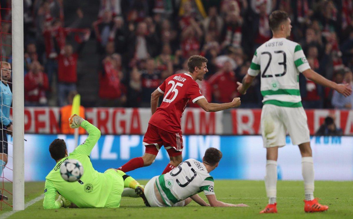 1-0: Müller (17.) 2-0: Kimmich (29.) 3-0: Hummels (51.)  #FCBCEL #UCL...