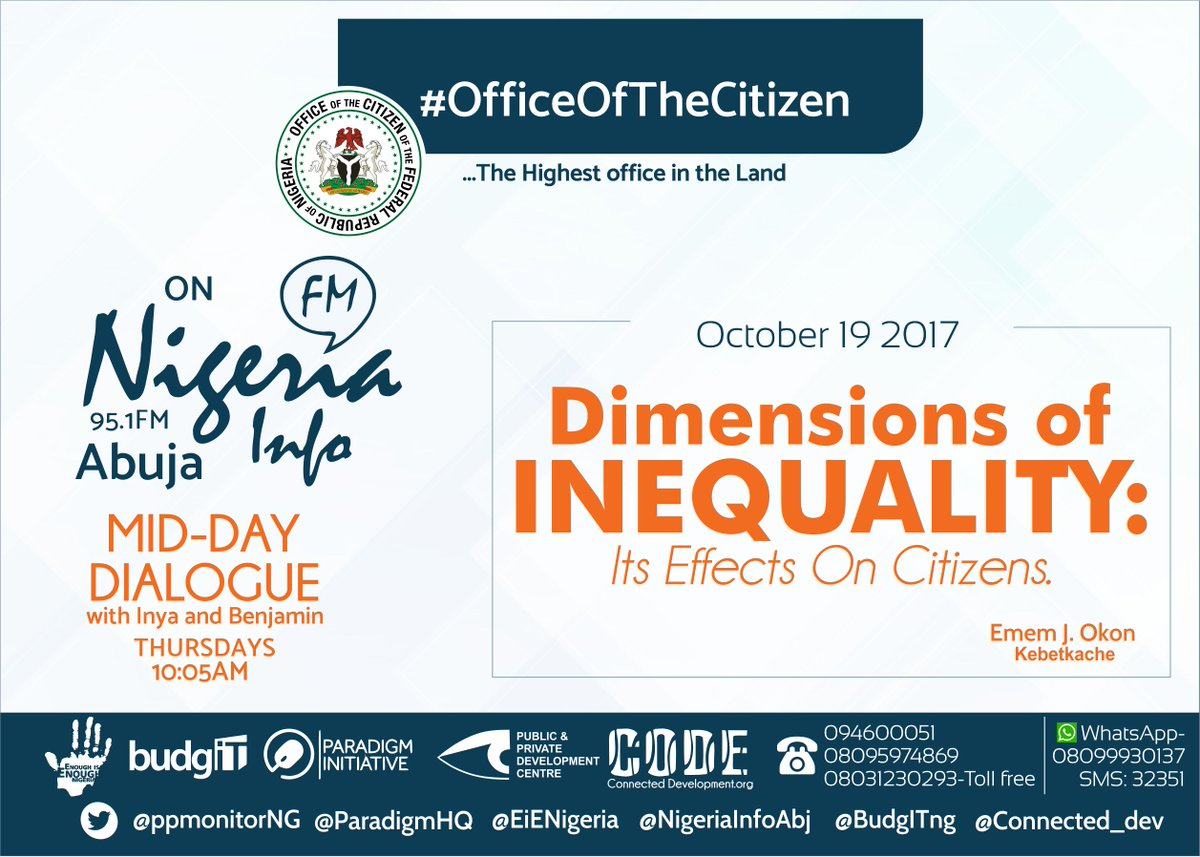 Join us tomorrow on @NigeriaInfoAbj as we discuss dimensions of inequality with @kebetkachewomen by 10AM.  #EvenItUp <br>http://pic.twitter.com/9cPrJUkOCW