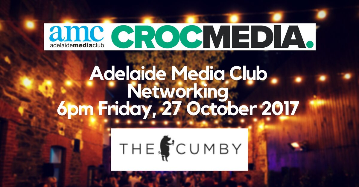 #Adelaide #Media Club Members October #Networking 6pm Fri 27OCT17 at @thecumby Waymouth Street Sponsors @Crocmedia https://t.co/Dt0AJNSuOB https://t.co/uSOByDqj4h