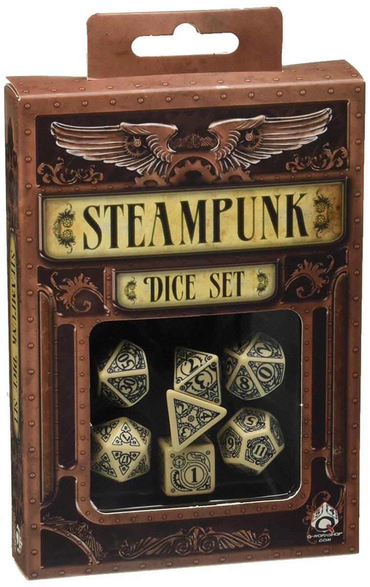 Also...giveaway details will be announced tomorrow...but I wasn't subtle on stream tonight about one of the prizes... #DnD #dice #steampunk