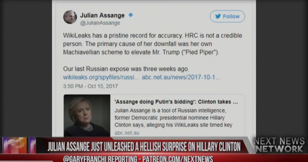 #JulianAssange Just Unleashed A Hellish Surprise On #HillaryClinton.. This is HUGE  http:// youtu.be/xZ-DYnLCw8Y  &nbsp;   #RussianCollusion #Wikileaks<br>http://pic.twitter.com/p4YhpzC637