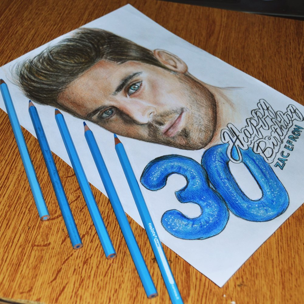 HAPPY BIRTHDAY ZAC EFRON   +30 My drawing ART, hope you love it