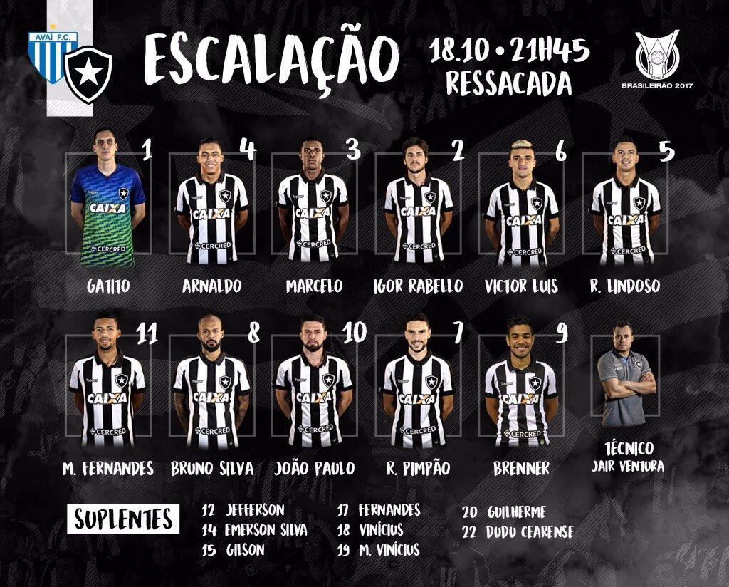 Fogão definido para enfrentar o Avaí! #VamosGanharFogo https://t.co/Ww...