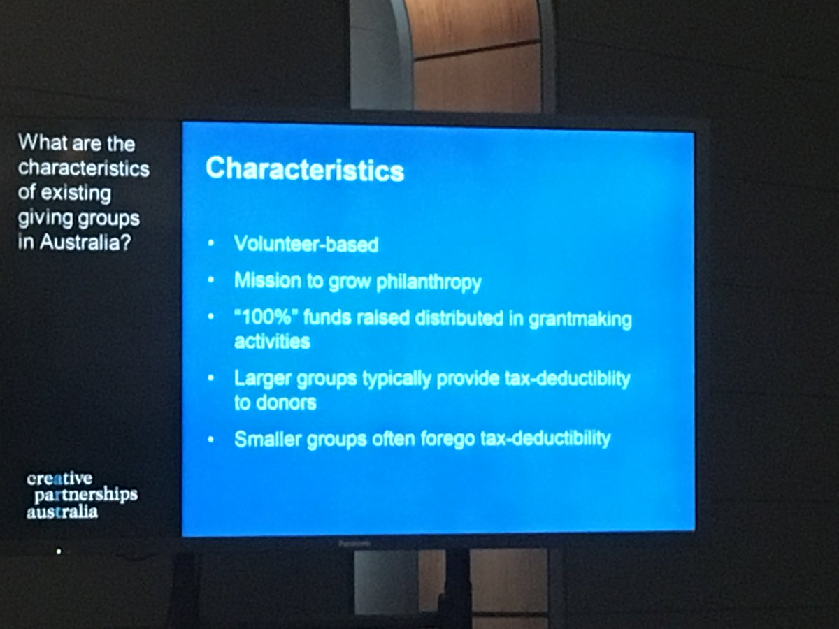 Some key characteristics of #giving circles in Aus @CreativePships PM Comm&#39;y Bus P&#39;ship research on collective giving trends #NCFF17<br>http://pic.twitter.com/hiUOPIQdEo