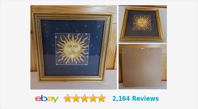 #Celestial Art Print Framed with Glass #Sun Stars Blue Gold Square 9.5&quot; | eBay #celestialart  https:// goo.gl/RKiR5c  &nbsp;  <br>http://pic.twitter.com/xqgRxc2yzN