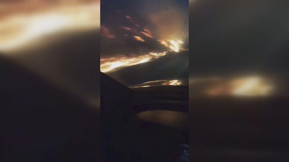 WATCH: Lethbridge man describes 'unbelievable' close encounter with grass fire.   https://t.co/GIrE63H86H   Photo Credit: Thomas Larrivee