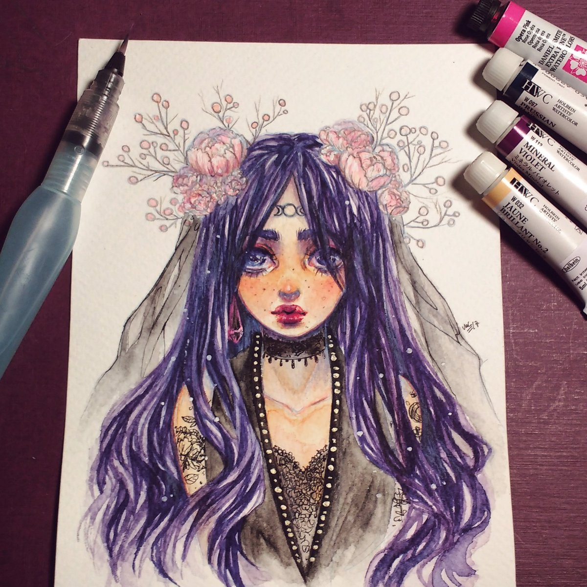 Moon Bride Sketch  #watercolor #Watercolour #Paintings #painting #artwork #witches #drawing #illustration #portrait #flowers #femaleartist<br>http://pic.twitter.com/rbCdiKEuXm