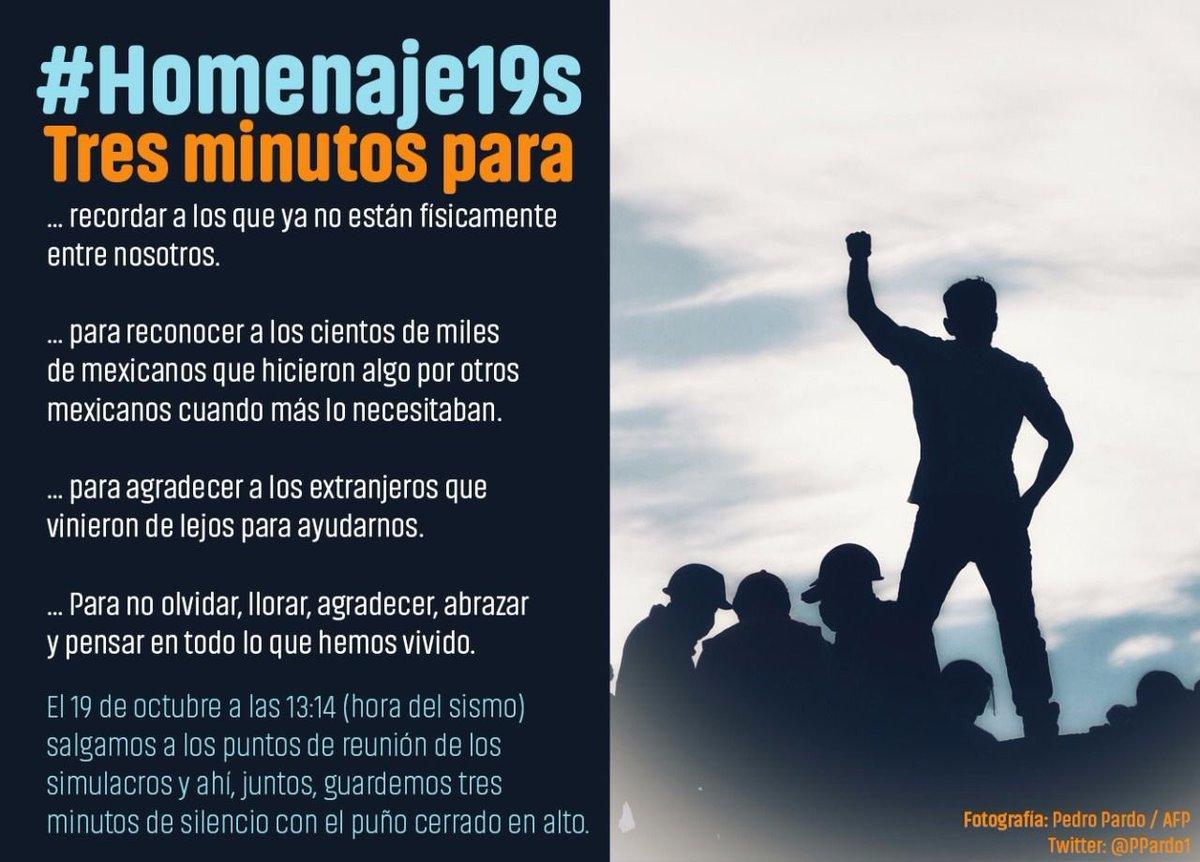 Mañana 13:14 hrs.  A un mes del #19s   #Homenaje19s   TRES MINUTOS par...