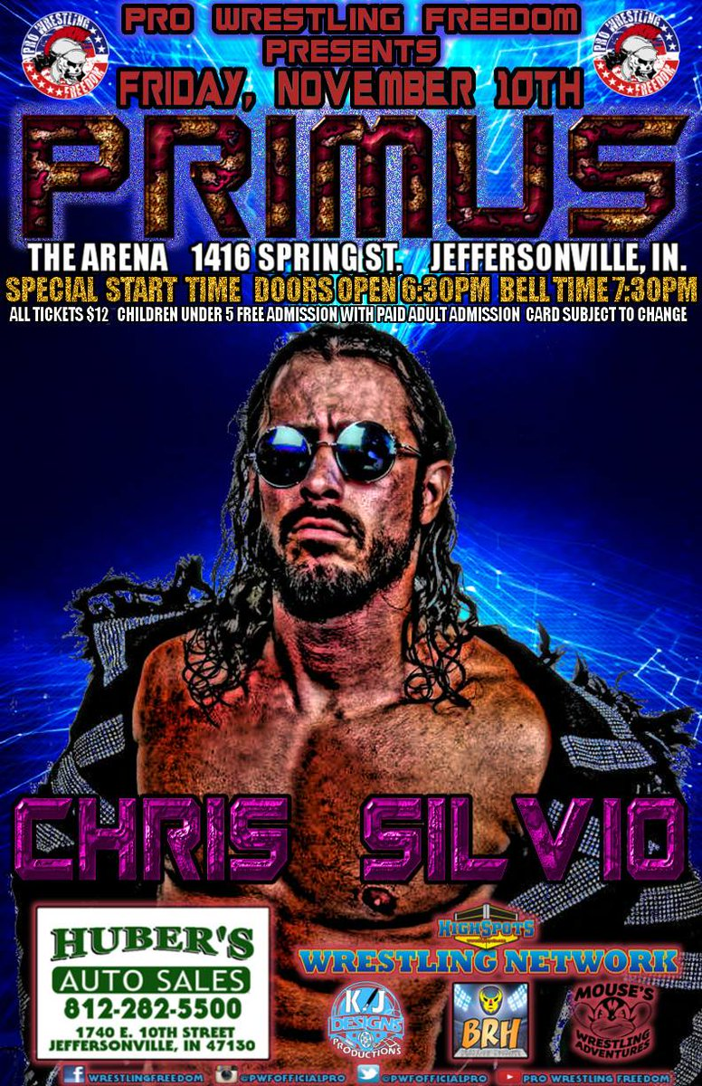 Chris Silvio is our next entrant into our Primus tournament on 11/10 at the Arena in Jeffersonville, IN.  #Freedom <br>http://pic.twitter.com/upOyQsvQsk