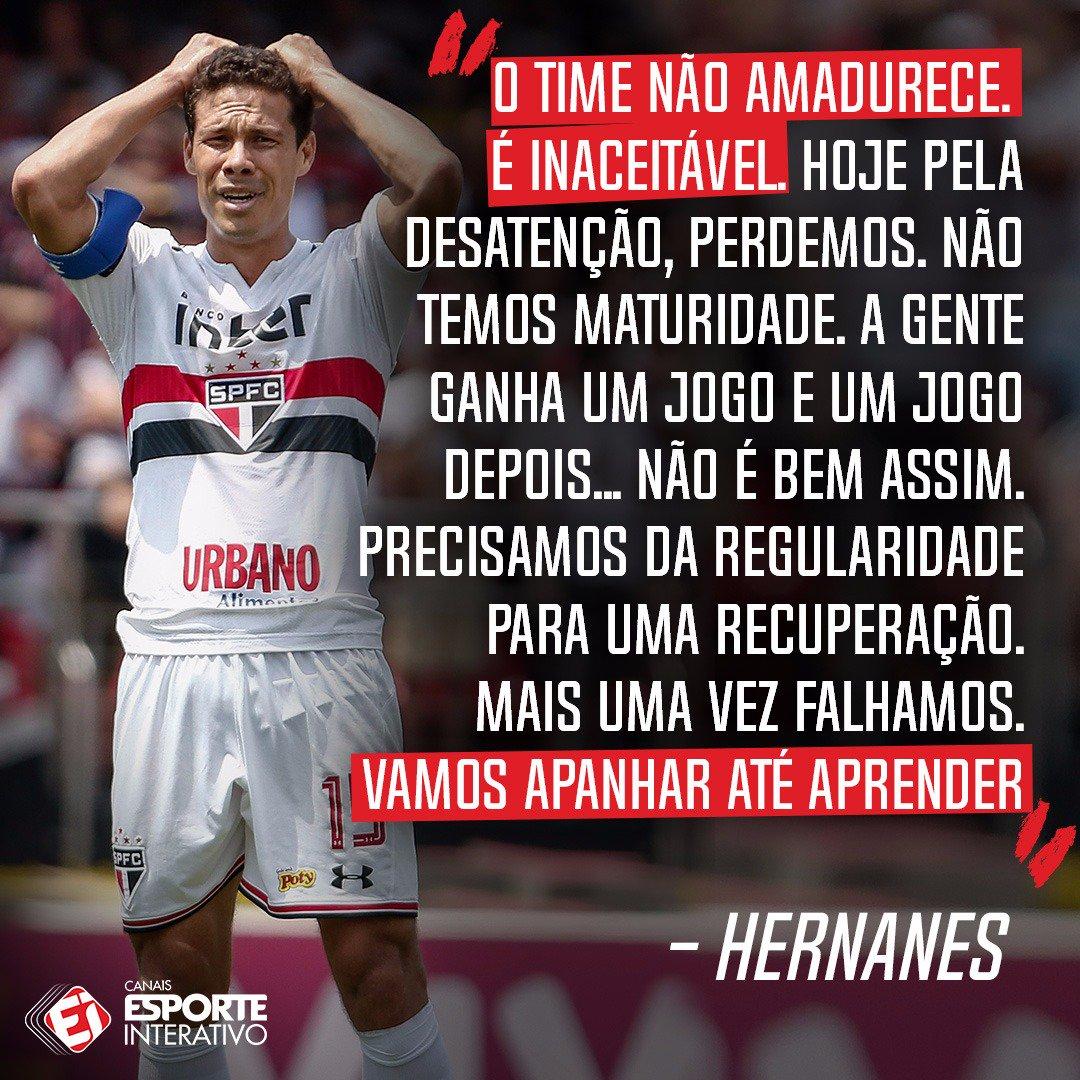 Olha o que o Hernanes falou na saída de campo, após a derrota do São Paulo para o Fluminense! Baixe nosso app: https://t.co/DqW48ivIRl
