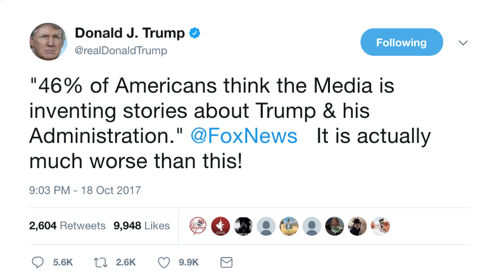 Trump: The media makes up more than Americans think https://t.co/n8S9Ogf5M7