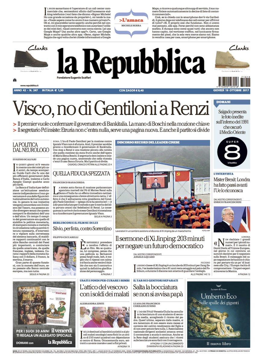 Visco, no di Gentiloni a Renzi - La prim...