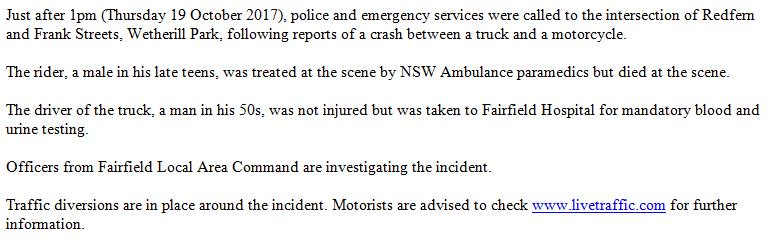 A report will be prepared for the Coroner following a fatal crash at Wetherill Park. #9News