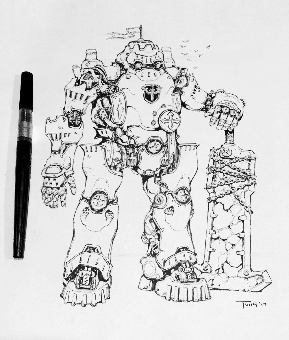 #Inktober no. 3 Steam Knight Galahad. Sword obv inspired by Zelda BOTW &gt;_&gt; #steamknights #knightsoftheroundtable #inktober2017 #mecha #robot <br>http://pic.twitter.com/qBF6PP8lMr