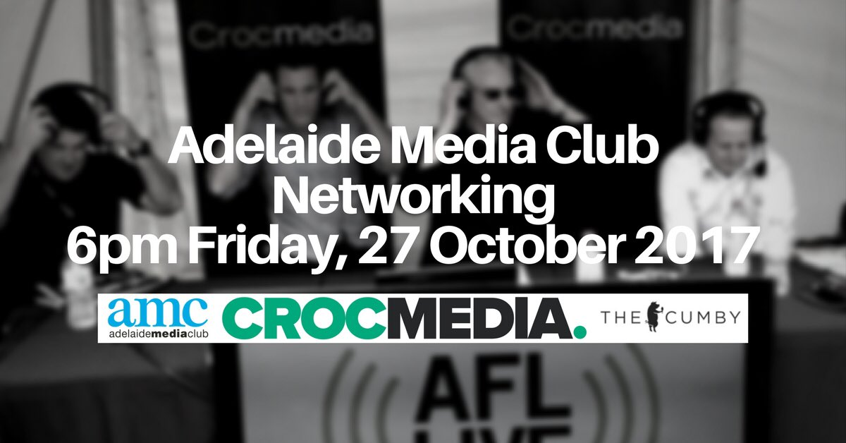 #Adelaide #Media Club Members October #Networking 6pm Fri 27OCT17 at @thecumby Waymouth Street Sponsors @Crocmedia https://t.co/9jJWQA88qd https://t.co/7LNdMu6ygz