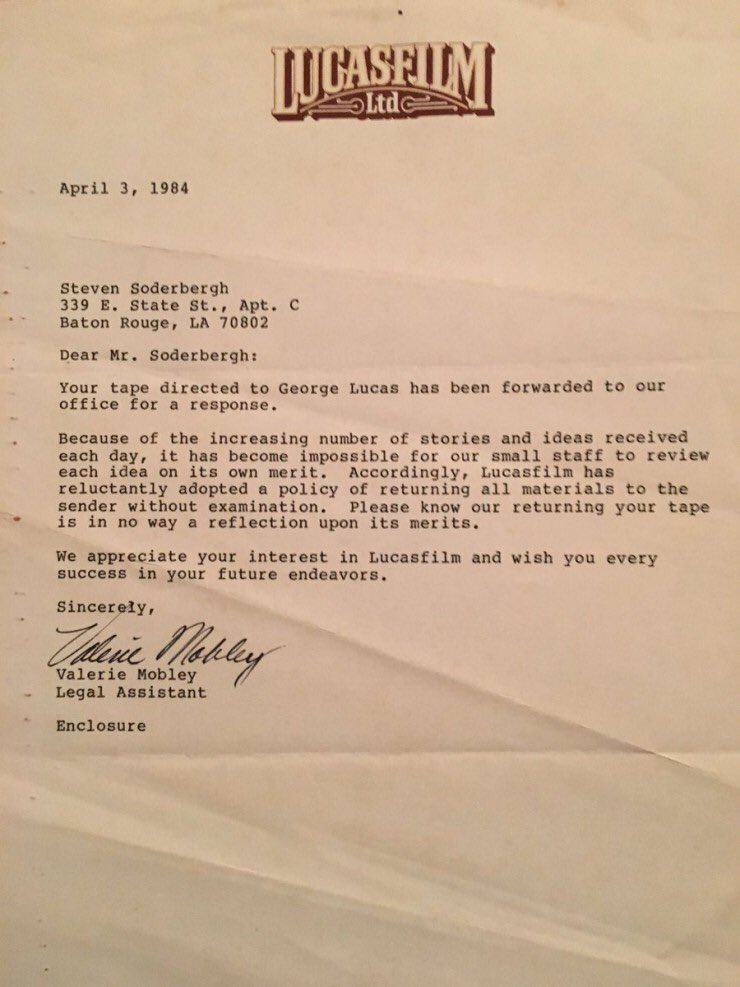 Amazing. A young Steven Soderbergh received this letter from LucasFilm in 1984. #filmmaking #hollywood